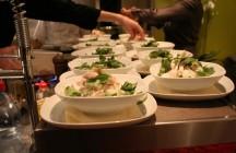 """Lemongrass Tea"" Soup with Chicken Dumplings, Mango, and Glass Noodles"