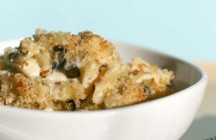 Mac &amp; Cheese with Braised Leeks, Asiago and Parmesan Breadcrumbs