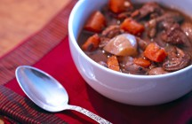 Slow Cooked Beef Stew with Red Wine &amp; Wild Mushrooms
