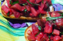 Heirloom Tomato, Basil and Goat Cheese Bruschetta