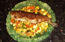 Easy Pan Fried Trout with Summer Vegetables