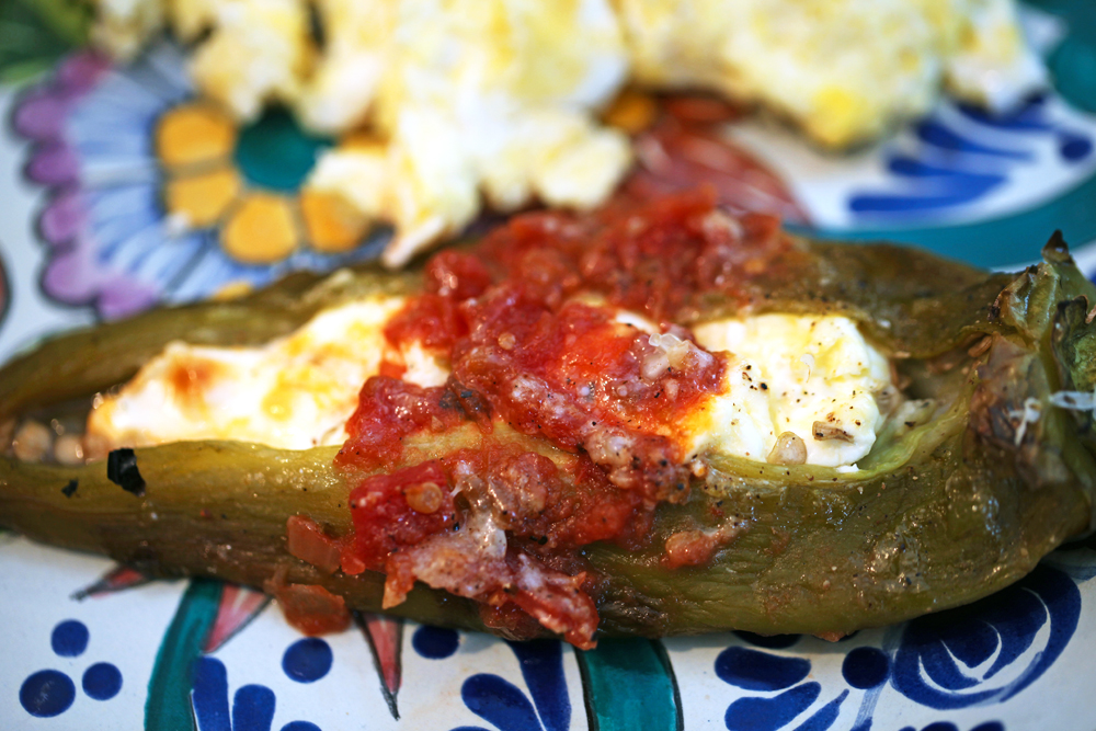 roasted stuffed anaheim chile pepper with scrambled eggs